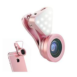 Aipinvip 3 in 1 Camera Lens with Fill Light,Clip-on Lens Kit