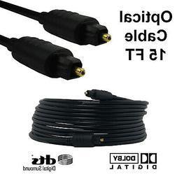 15FT Premium Digital Audio Optical Optic Fiber Cable Toslink