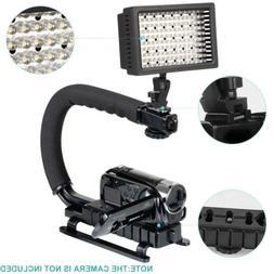 160LED Video Light+C/U Shape Bracket Handle Grip Stabilizer