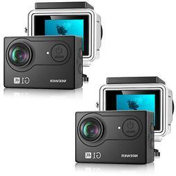 2 set Black G1 4K WiFi Underwater Action Camera 12MP 2 Scree