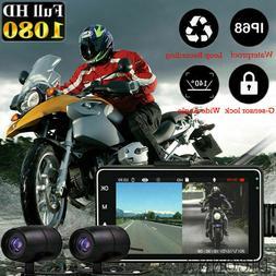 "3"" 1080P Dual Lens Motorcycle Bike Camera DVR Dash Cam Video"