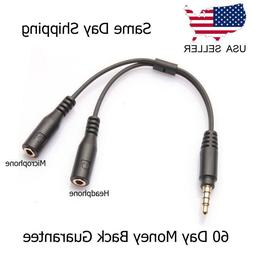 3.5mm Stereo Audio Male to 2 Female Headset Mic TRRS Y Split
