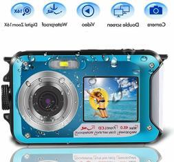 Underwater Camera Dual Screen 2.7K 24MP Waterproof Digital C