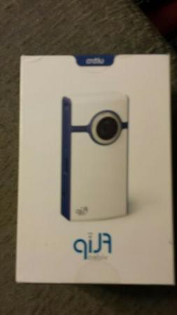 +Flip Video  Hard Drive Camcorder - White & BLUE *NEW FACTOR