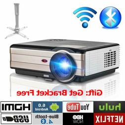 4000lms Smart Android 6.0 Projector WiFi Bluetooth Video Hom