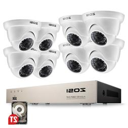 ZOSI 8CH 1080P Hybrid DVR 2MP Outdoor Dome Day Night Securit