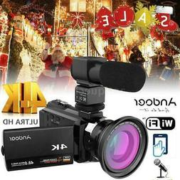 Andoer 4K 1080P 48MP WiFi Digital Video Camera Camcorder +0.