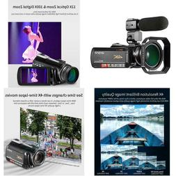 4k Camcorder, Ordro 4K UHD WiFi Video Camera with 12X Optica