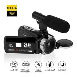 SEREE 4K Camcorder Video Camera w/ Microphone 30MP WiFi Nigh