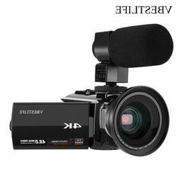 VBESTLIFE 4K HD 48MP Digital Camcorder With Wide Angle Macro