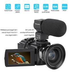 4K HD Digital Camcorder 16X Zoom WiFi 48 MP Video Camera w/M
