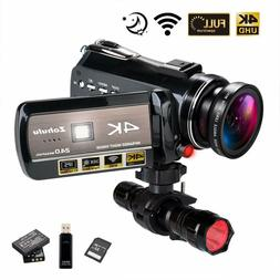 Zohulu 4K Wifi Full Spectrum Camcorder 24MP 30X Digital Zoom