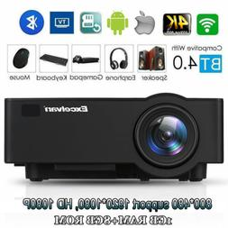 4K WiFi Wireless 1080P Projector Android IOS Home Theater LE