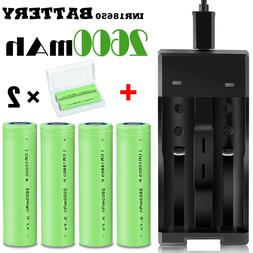 4X 18650 2600mAh 3.7V Li-ion Rechargeable Battery High Drain