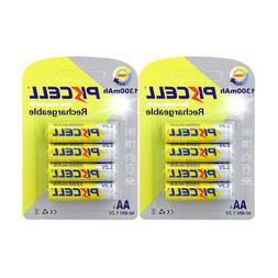 8pcs PKCELL Double A 2A Rechargeable Batteries AA 1.2V 1300m