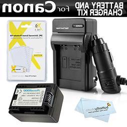Battery And Charger Kit For Canon VIXIA HF R82, HF R80, HF R
