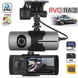 Dual Lens GPS Camera HD Car DVR Dash Cam Video Recorder G-Se