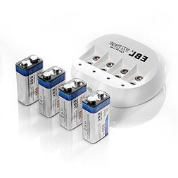 EBL 855 4 Bay 9V Li-ion Battery Charger with 4 Pack 600mAh 9