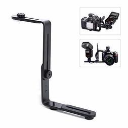 EXMAX Metal Aluminum Alloy L-shape Camera Flash Bracket Flas