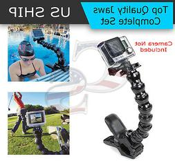 Jaws Flex Clamp Mount + Adjustable Neck for Gopro Hero 4 3 2