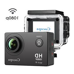Cocopa Action Camera, 12MP Full HD 1080P WIFI Sport Camera W
