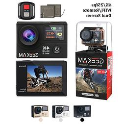 4K Action Camera,Waterproof Wi-Fi 2.4G Remote Control Dual S