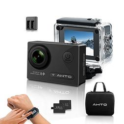 Action Camera-OTHA 4K Sports Camera with 2 Batteries and Hel