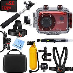 Vivitar HD Action Waterproof Camera / Camcorder Red + 32GB O