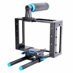 Aluminum DSLR Camera Cage Kit With 15mm Rod Rig For Nikon Pe