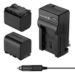 Powerextra 2 Pack Battery and Charger for JVC BN-VG121, BN-V