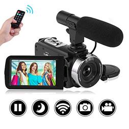 SEREE Camcorder Full HD 1080P 30FPS Vlogging Camera with Rem
