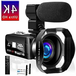 Camcorder Video Camera 4K 48MP 18X WiFi YouTube IR Night Vis