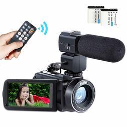 Besteker Camcorder Video Camera HD 1080P 24MP WiFi Digital 3