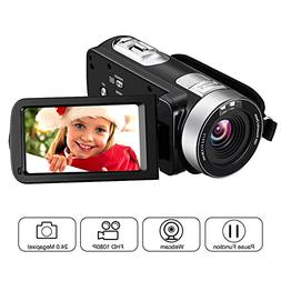 "Camcorder Full HD 1080p Webcam 24.0MP 2.7"" LCD Rotatable S"