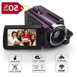 4K Camera Camcorder Eamplest WiFi Ultra HD Video Camera 48MP