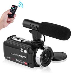 Seree Camcorder Video Camera Full HD 1080P WiFi Vlog Camera