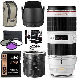 Canon EF 70-200mm f/2.8L IS II USM Zoom Lens, Sandisk 64GB C