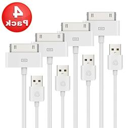 Antopos 4 Pack Certified 30 Pin to USB Sync and Charging Cab