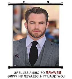 Chris Pine Actor Fabric Wall Scroll Poster  Inches