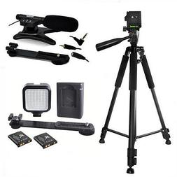 "72"" TRIPOD + 36LED LIGHT + MICROPHONE FOR CANON EOS REBEL T3"