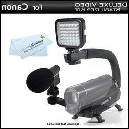 Deluxe LED Video Light + Mini Zoom Shotgun Microphone w/Moun
