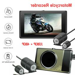 Dual Lens Motorcycle 1080P Dash Cam Front Rear Video Recorde