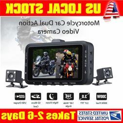 DV168 Car Motorcycle Mount Action 0.3MP HD Dual Camera Video