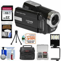 Vivitar DVR-508 HD Digital Video Camera Camcorder Kit Black