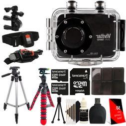 Vivitar DVR-786HD Black Action Camcorder + Two 16GB MicroSD