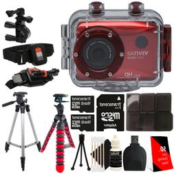 Vivitar DVR-786HD Red Action Camcorder + Two 16GB MicroSD Ac