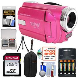 Vivitar DVR-508 HD Digital Camcorder  + 32GB Card + Batterie