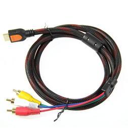Estone 5Ft 1.5m HDMI To 3-RCA Video Audio AV Component Conve