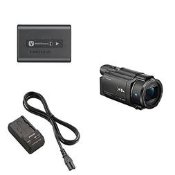 Sony FDRAX53/B 4K HD Video Recording Camcorder  & Sony NP-FV