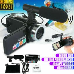 Full 1080P 24MP 18X Zoom 3'' LCD Digital Camcorder Video Cam